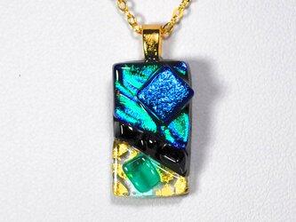 ダイクロガラスペンダント:エメラルドグリーンにディープブルー(金箔55)の画像