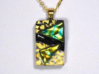 ダイクロガラスペンダント:クリアとブラックに黄緑の凹凸(金箔57)の画像