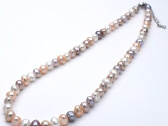 本真珠マルチカラーネックレス ナチュラルカラー バロック ポテト アジャスター 送料無料 淡水パールの画像