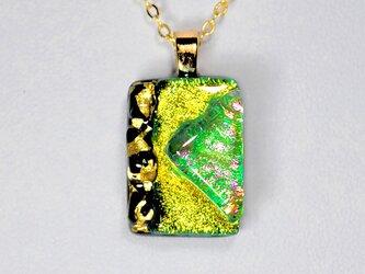 ダイクロガラスペンダント:黄緑とレインボー(金箔59)の画像