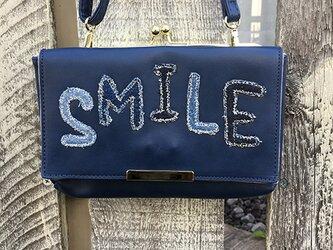 【セレクト加工】SMILEデニムワッペンお財布ショルダー(ネイビー)の画像