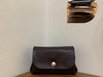 上質牛革 手のひらsize財布◆焦げ茶の画像