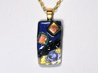 ダイクロガラスペンダント:濃紫にカッパー(金箔66)の画像