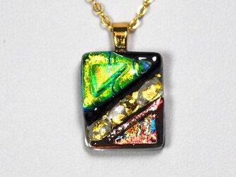 ダイクロガラスペンダント:黄緑とカッパー(金箔65)の画像