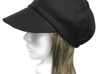 メルトンウール/つば広キャスケット(ゆったり)◆ブラックの画像