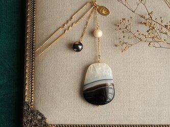 天然石とパールの帯飾り《パンダアゲート/A》【送料無料】の画像