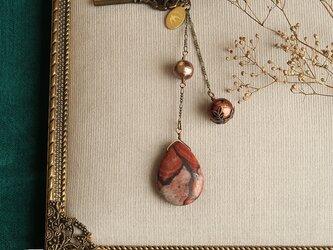 天然石とパールの帯飾り《ジャスパー/B》【送料無料】の画像
