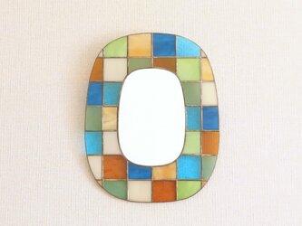 カラフルガラスパッチワークの鏡 [南西]の画像