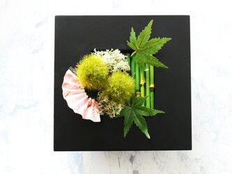 ◆New!観葉グリーン・インテリアアート◆和モダン苔もみじ扇・壁掛けにもの画像