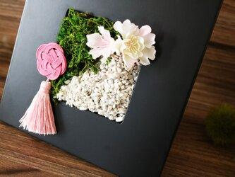 ◆New2020!観葉グリーン・インテリアアート◆和モダン水引桜・壁掛けにもの画像