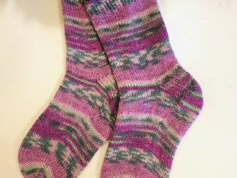 No.248 送料込手編み靴下 レンゲの記憶の画像