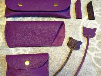【ご予約品】シクラメン 手縫いトリヨンのシンプルな名刺入れ&キャップ の画像