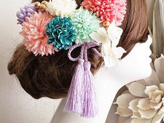 花funwari まんまるマムの髪飾り10点Set No701の画像