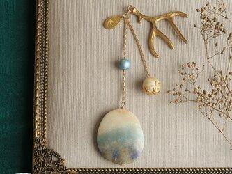 天然石とパールの帯飾り《トリオライト/A》【送料無料】の画像