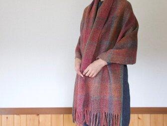 手紡ぎ手織りのブランケット〈しっかりタイプ〉(赤系)の画像