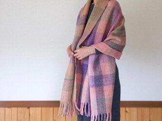 手紡ぎ手織りのブランケット〈しっかりタイプ〉(ピンク系)の画像