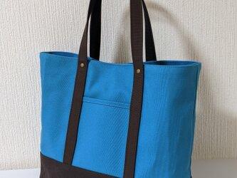 A4ターコイズブルー×ブラウン帆布トートバッグの画像