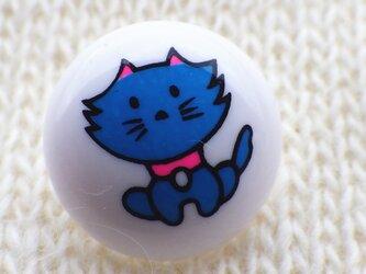 (3個) レトロボタン 青いネコの画像
