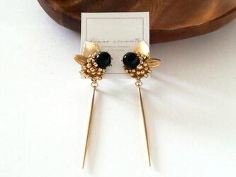 2way pierce /// stick black onyx botanical flowerの画像