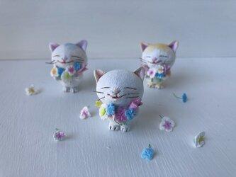 春の花束猫さんカレンダーセット 白の画像