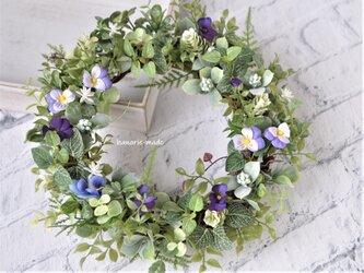 再販 紫のすみれ花 小春リース :リース グリーン むらさき 春の画像