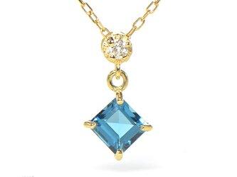 K18 ロンドンブルートパーズ ダイヤモンド ペンダント K18イエローゴールドスクエア YK-BE091CI28の画像