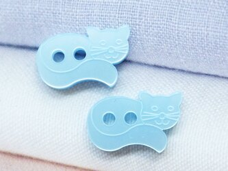 (2個)ねこのボタン ブルー フランス製の画像