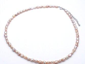 本真珠ナチュラルネックレス 淡水パール オレンジ系 パープル系 ブレスレット 兼用の画像