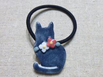 小花ねこヘアゴム 黒猫もどきの画像
