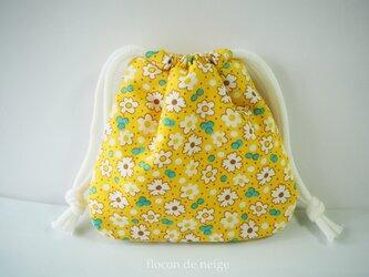 お花 ポーチ 巾着 M『11』 黄色 イエローの画像