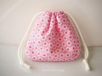 お花 ポーチ 巾着 M『12』 ピンクの画像
