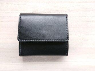 *受注生産* 三つ折り財布 #2‐2 カード増設タイプ 栃木レザー(ピアノレザー)黒&ピッグスエード 黒の画像