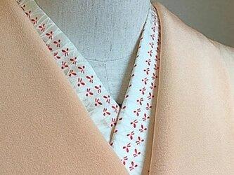 正絹半衿 赤い小花の画像