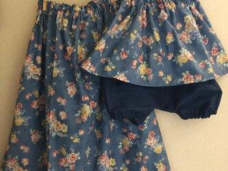 親子でお揃いコーデ♪ママ用ギャザースカートとチュニックキャミソール&スカートとかぼちゃパンツセット(春待ちローズブーケ ブルー)の画像