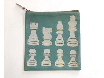 ファスナーポーチ正方形[チェス]薄緑の画像