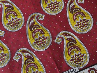 アフリカ布『カンガ』レッド × イエロー ペイズリーの画像