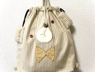 新作☆くまのお着替え袋【ストライプベージュ】の画像