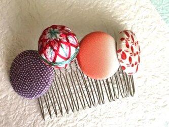 髪飾り 手毬 赤の画像