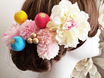 袴 成人式 優花 ホワイ系ダリアと和ponボールの髪飾り9点Set No702の画像