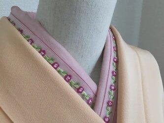 洗える半襟 ピンクのお花レースの画像