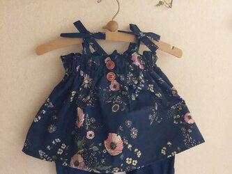 着回し色々♪4wayチュニックキャミソール&スカートとかぼちゃパンツセット(ボタニカルフラワーネイビー)の画像