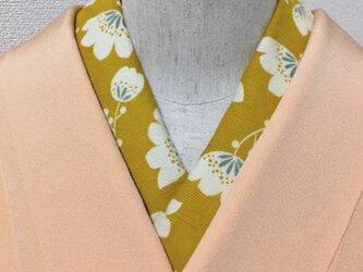冬素材の半衿 はんなりお花 からし色の画像