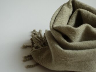 手織りウールマフラー・・丁子の画像