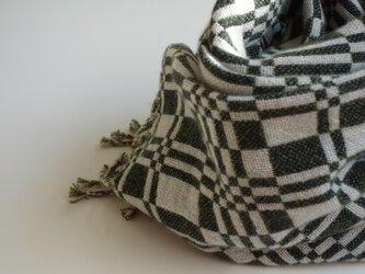 手織りカシミアストール・・深緑×ブルーグレーの画像