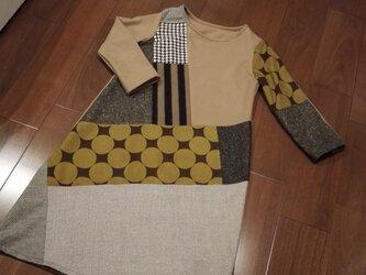 wintersale!ウールパッチワークワンピ ブラウン系の画像