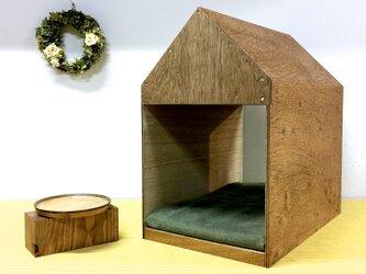 インテリアになる犬小屋 ドッグハウス  ペットハウス 木製 ブラウン 室内用の画像