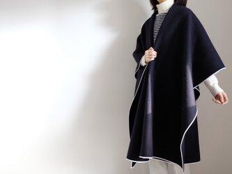 ロング ケープ コート Re_1say /ウール カシミヤ 両面ビーバー 【 ネイビー 】の画像