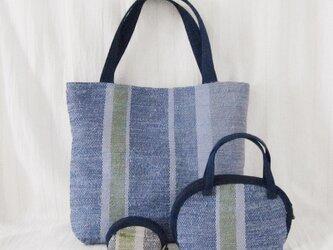 ☆セール第二弾☆ 裂き織りのトートバッグとポーチの3点セット(青)の画像