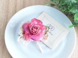 スウィートローズとレースのりぼんのプチコサージュ 2Way☆ローズピンク sweet rose corsage pinkの画像