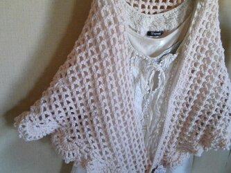 ネット編みのストール 淡い優しいピンクカラーの画像